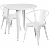 30'' Round White Metal Indoor-Outdoor Table Set with 2 Arm Chairs [CH-51090TH-2-18ARM-WH-GG]