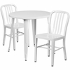 30'' Round White Metal Indoor-Outdoor Table Set with 2 Vertical Slat Back Chairs [CH-51090TH-2-18VRT-WH-GG]