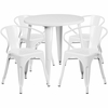 30'' Round White Metal Indoor-Outdoor Table Set with 4 Arm Chairs [CH-51090TH-4-18ARM-WH-GG]