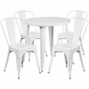 30'' Round White Metal Indoor-Outdoor Table Set with 4 Cafe Chairs [CH-51090TH-4-18CAFE-WH-GG]