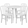 30'' Round White Metal Indoor-Outdoor Table Set with 4 Vertical Slat Back Chairs [CH-51090TH-4-18VRT-WH-GG]
