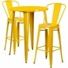 30'' Round Yellow Metal Indoor-Outdoor Bar Table Set with 2 Cafe Barstools [CH-51090BH-2-30CAFE-YL-GG]