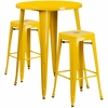 30'' Round Yellow Metal Indoor-Outdoor Bar Table Set with 2 Square Seat Backless Barstools [CH-51090BH-2-30SQST-YL-GG]