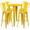 30'' Round Yellow Metal Indoor-Outdoor Bar Table Set with 4 Cafe Barstools [CH-51090BH-4-30CAFE-YL-GG]