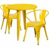 30'' Round Yellow Metal Indoor-Outdoor Table Set with 2 Arm Chairs [CH-51090TH-2-18ARM-YL-GG]