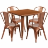 31.5'' Square Copper Metal Indoor-Outdoor Table Set with 4 Stack Chairs [ET-CT002-4-30-POC-GG]