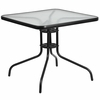 31.5'' Square Tempered Glass Metal Table [TLH-073A-2-GG]