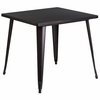 31.75'' Square Black-Antique Gold Metal Indoor-Outdoor Table [CH-51040-29-BQ-GG]