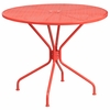 35.25'' Round Coral Indoor-Outdoor Steel Patio Table [CO-7-RED-GG]