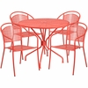 35.25'' Round Coral Indoor-Outdoor Steel Patio Table Set with 4 Round Back Chairs [CO-35RD-03CHR4-RED-GG]
