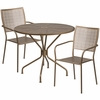 35.25'' Round Gold Indoor-Outdoor Steel Patio Table Set with 2 Square Back Chairs [CO-35RD-02CHR2-GD-GG]