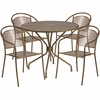 35.25'' Round Gold Indoor-Outdoor Steel Patio Table Set with 4 Round Back Chairs [CO-35RD-03CHR4-GD-GG]