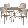 35.25'' Round Gold Indoor-Outdoor Steel Patio Table Set with 4 Square Back Chairs [CO-35RD-02CHR4-GD-GG]