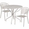 35.25'' Round Light Gray Indoor-Outdoor Steel Patio Table Set with 2 Round Back Chairs [CO-35RD-03CHR2-SIL-GG]