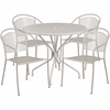 35.25'' Round Light Gray Indoor-Outdoor Steel Patio Table Set with 4 Round Back Chairs [CO-35RD-03CHR4-SIL-GG]