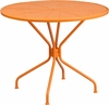35.25'' Round Orange Indoor-Outdoor Steel Patio Table [CO-7-OR-GG]