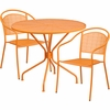 35.25'' Round Orange Indoor-Outdoor Steel Patio Table Set with 2 Round Back Chairs [CO-35RD-03CHR2-OR-GG]