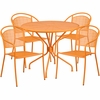 35.25'' Round Orange Indoor-Outdoor Steel Patio Table Set with 4 Round Back Chairs [CO-35RD-03CHR4-OR-GG]