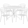35.25'' Round White Indoor-Outdoor Steel Patio Table Set with 4 Round Back Chairs [CO-35RD-03CHR4-WH-GG]