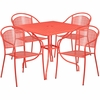 35.5'' Square Coral Indoor-Outdoor Steel Patio Table Set with 4 Round Back Chairs [CO-35SQ-03CHR4-RED-GG]