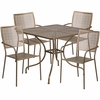 35.5'' Square Gold Indoor-Outdoor Steel Patio Table Set with 4 Square Back Chairs [CO-35SQ-02CHR4-GD-GG]