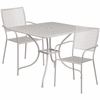 35.5'' Square Light Gray Indoor-Outdoor Steel Patio Table Set with 2 Square Back Chairs [CO-35SQ-02CHR2-SIL-GG]