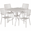 35.5'' Square Light Gray Indoor-Outdoor Steel Patio Table Set with 4 Square Back Chairs [CO-35SQ-02CHR4-SIL-GG]