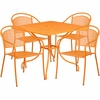 35.5'' Square Orange Indoor-Outdoor Steel Patio Table Set with 4 Round Back Chairs [CO-35SQ-03CHR4-OR-GG]