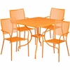 35.5'' Square Orange Indoor-Outdoor Steel Patio Table Set with 4 Square Back Chairs [CO-35SQ-02CHR4-OR-GG]