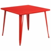 35.5'' Square Red Metal Indoor-Outdoor Table [CH-51050-29-RED-GG]