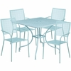 35.5'' Square Sky Blue Indoor-Outdoor Steel Patio Table Set with 4 Square Back Chairs [CO-35SQ-02CHR4-SKY-GG]