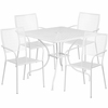 35.5'' Square White Indoor-Outdoor Steel Patio Table Set with 4 Square Back Chairs [CO-35SQ-02CHR4-WH-GG]