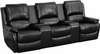 Allure Series 3-Seat Reclining Pillow Back Black Leather Theater Seating Unit with Cup Holders [BT-70295-3-BK-GG]