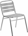 Aluminum Commercial Indoor-Outdoor Armless Restaurant Stack Chair with Triple Slat Back [TLH-015-GG]