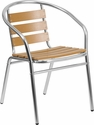 Aluminum Commercial Indoor-Outdoor Restaurant Stack Chair with Triple Slat Faux Teak Back [TLH-017W-GG]