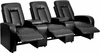 Eclipse Series 3-Seat Reclining Black Leather Theater Seating Unit with Cup Holders [BT-70259-3-BK-GG]