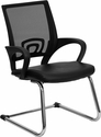 Black Leather Office Side Chair with Black Mesh Back and Sled Base [CP-D119A01-BK-GG]