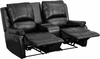 Allure Series 2-Seat Reclining Pillow Back Black Leather Theater Seating Unit with Cup Holders [BT-70295-2-BK-GG]