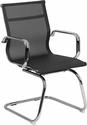 Transparent Black Mesh Side Reception Chair with Chrome Sled Base [BT-2768L-GG]