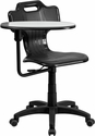 Black Mobile Task Chair with Swivel Tablet Arm [YU-YCX-032-GG]