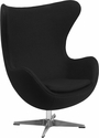 Black Wool Fabric Egg Chair with Tilt-Lock Mechanism [ZB-12-GG]