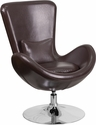 Brown Leather Egg Series Reception-Lounge-Side Chair [CH-162430-BN-LEA-GG]