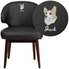 Embroidered Comfort Back Series Black Leather Side Reception Chair with Walnut Legs [BT-1-BK-EMB-GG]