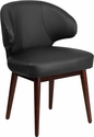 Comfort Back Series Black Leather Reception-Lounge-Office Chair with Walnut Legs [BT-1-BK-GG]