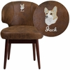 Embroidered Comfort Back Series Bomber Jacket Microfiber Side Reception Chair with Walnut Legs [BT-5-BOM-EMB-GG]