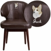 Embroidered Comfort Back Series Brown Leather Side Reception Chair with Walnut Legs [BT-4-BN-EMB-GG]