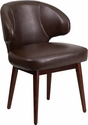 Comfort Back Series Brown Leather Reception-Lounge-Office Chair with Walnut Legs [BT-4-BN-GG]