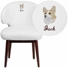 Embroidered Comfort Back Series White Leather Side Reception Chair with Walnut Legs [BT-2-WH-EMB-GG]