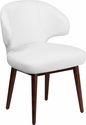 Comfort Back Series White Leather Reception-Lounge-Office Chair with Walnut Legs [BT-2-WH-GG]