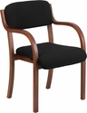 Contemporary Walnut Wood Side Reception Chair with Arms and Black Fabric Seat [SD-2052A-WAL-GG]